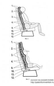 Кресло со спинкой из подвижных сегментов